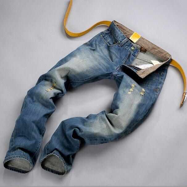 Free shipping 2016 spring summer new European and American hot sale big size men Slim wild Broken Hole jeans Cheap wholesaleÎäåæäà è àêñåññóàðû<br><br>
