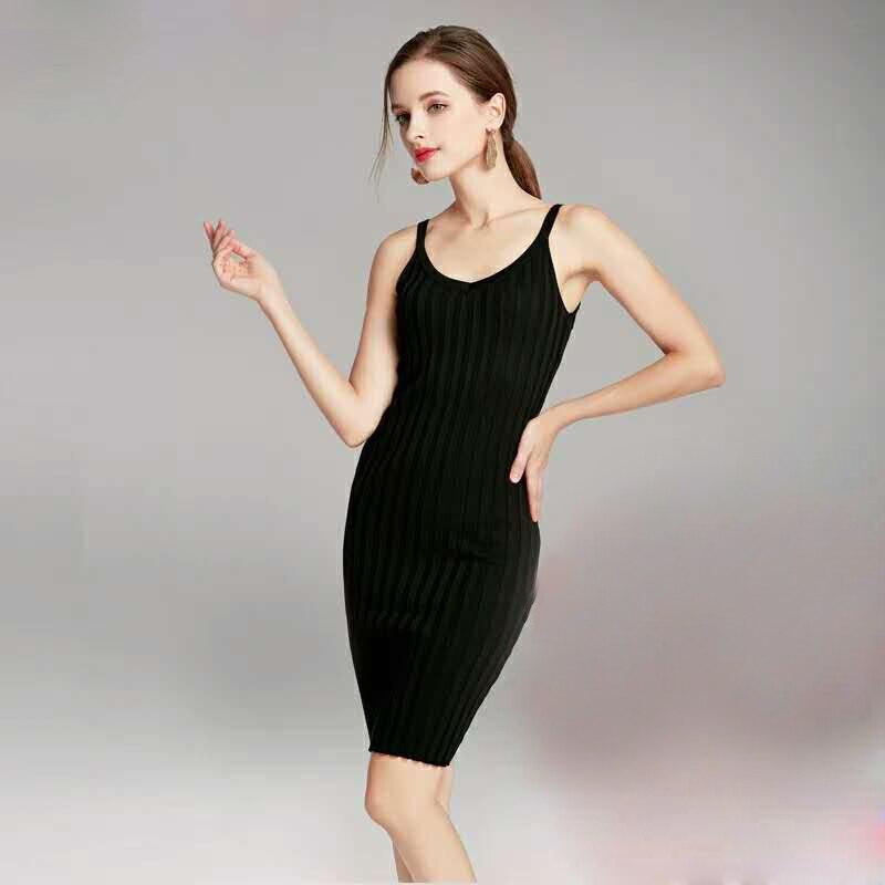 2019 Spring Knitting Sling Dress Sleeveless Bodycon Pencil Dress Solid Sexy Evening Party Dresses V-Neck Stretchy Dress Vestidos