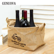 Women Eco Friendly Foldable Storage Household Buy Red Wine Bag Linen Grocery Storage Box Reusable Cabas Shopping Handbags Bag(China)