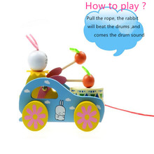 1XWooden Cute Kid Rabbit Beating Drum Pulling Cart Educational Toy for Children Toddler Funny For Kid To Playing
