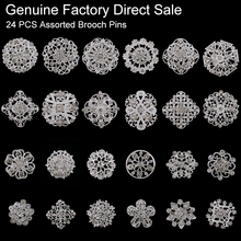 24 pieces Mixed Wholesale Crystal Rhinestones Flower Brooches for Wedding Invitation Cake Decoration Bouquet Kit Brooch Pins(China)