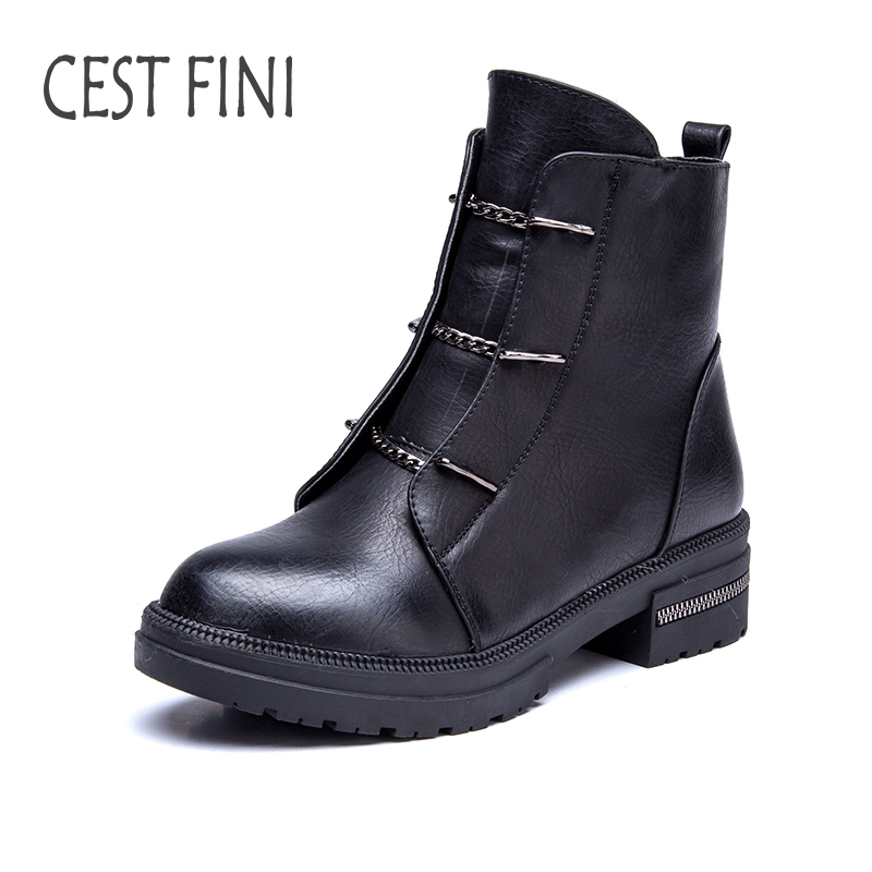 CESTFINI Fashion Plush Women Rubber Boots Ankle Boots For Women Winter Leather Boots Women Black Shoes Size 36-41#B009<br>