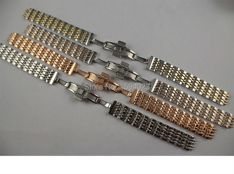 14mm T085210 T085207A New Watch Parts Solid Stainless steel Gold plating bracelet strap Rose gold plated WatchBands For T085<br>