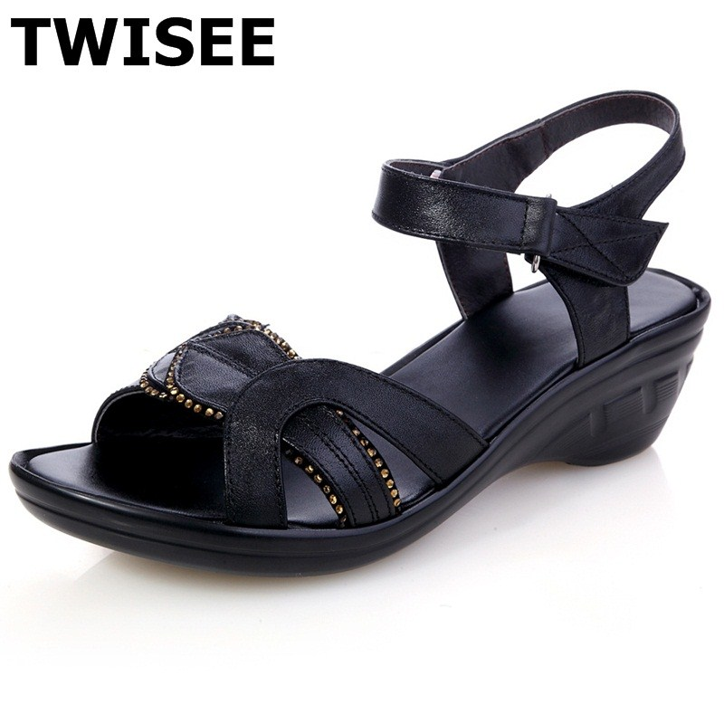 Wedges summer sandals ladies women shoes sandals Solid Buckle Strap Casual Comfortable Cow Leather Bonded Leather<br>