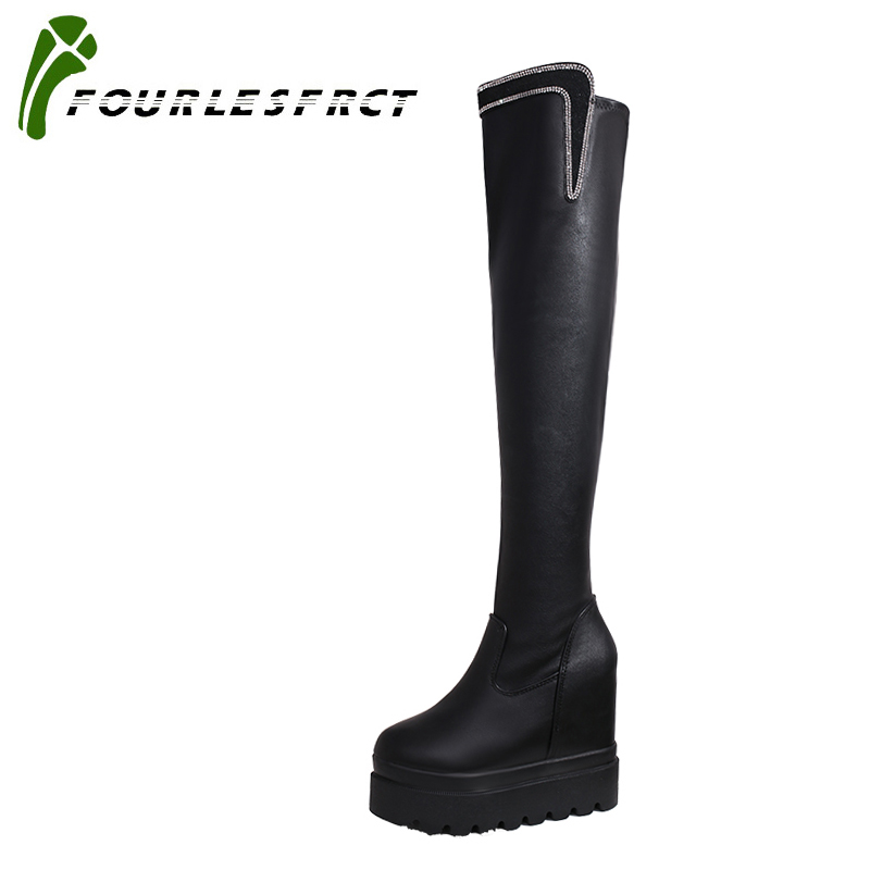 2017 Womens knee boots Size 35-39 Women High Heel Boots Platform Thick Fur Knee Boots Women Winter Shoes Warm Women Footwears<br>