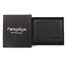 Black Pebbled Front Pocket Slim RFID Blocking Leather Wallet Bifold With Money Clip For Men(China)