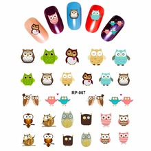 NAIL ART BEAUTY NAIL STICKER WATER DECAL SLIDER CARTOON LOVELY CUTE BIRDS OWL BAT RP007-012(China)