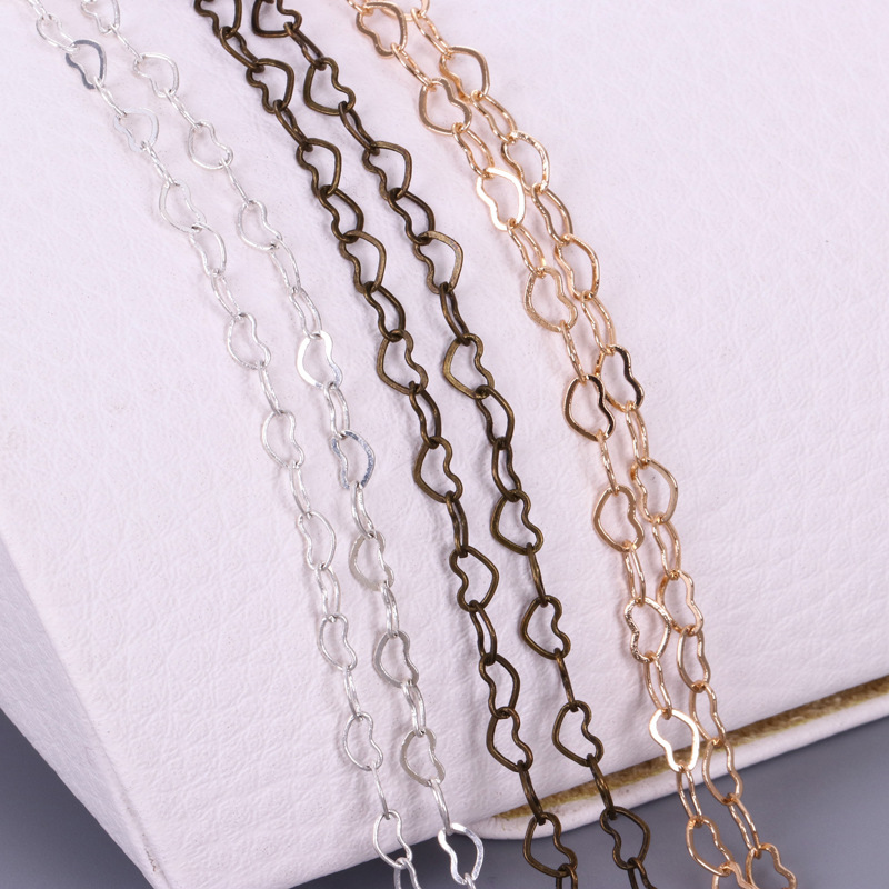 Heart Copper Chain Gold Silver Ancient Bronze Plated Fancy Heart-shaped Handmade Jewelry Making Accessories 20m/roll Wholesale