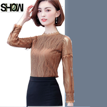 Lace Blouses New Hot Basic Wear Winter Women Fashion Pink Cute Stand Elegant Office Lady Work Style Hollow Out Crochet Lace Top(China)