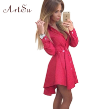 ArtSu New 2017 Preppy Style Women Summer Dress Sexy 3/4 Sleeve Red Plaid Print Office Shirt Cardigan Dresses Work Wear DR5985(China)