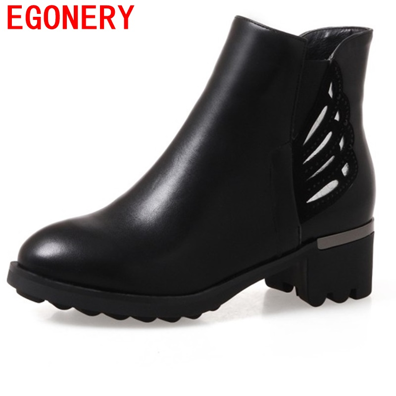 egonery ankle boots 2017 winter side zipper round toe good quality booties woman 3 color shoes short plush inside walking shoes<br>