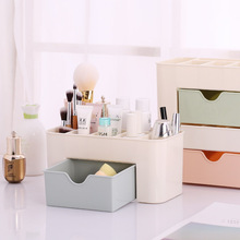 Plastic Cosmetic Storage Box With Small Drawer Multi-functional Jewelry Box Desk Sundries Storage Container Organizer(China)