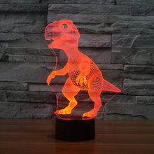 Night Light Dinosaur Tyrannosaurus Rex Toy 3D USB LED Lamp Kid Bedroom Desk Table Bulb Decor Desk Table Gadget Props Gift Boy
