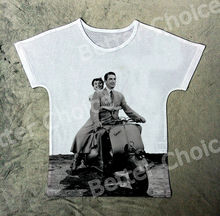 Track Ship+Vintage Retro Cool Rock&Roll Punk T-shirt Top Romantic Vacaciones En Roma Roman Holiday Pelicula Princess Ann 1322(Hong Kong)