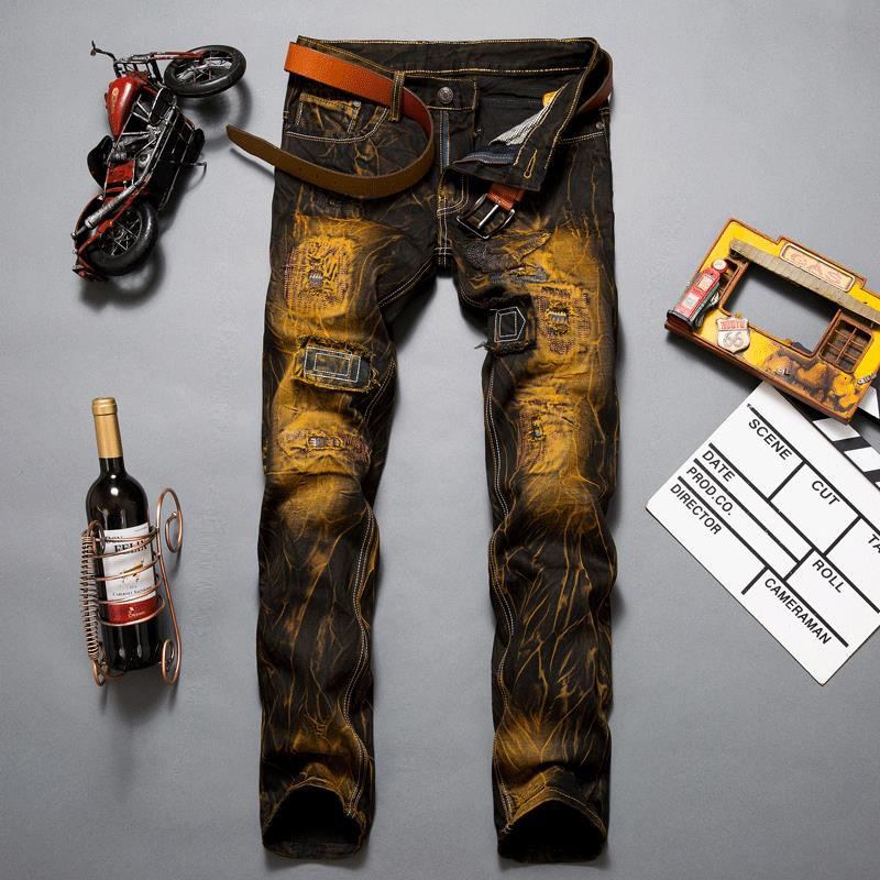 New Arrival Golden Vintage Yellowish Wash Personality Style Lion  Impression Hole  Ripped Fabric Patch Jeans For Men  MB16314Îäåæäà è àêñåññóàðû<br><br>