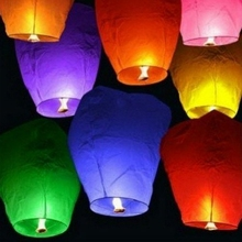 10PCS Wedding Decoration Paper Sky Lanterns With Candle White Chinese Kongming Lantern for Baby Shower Party Supplies