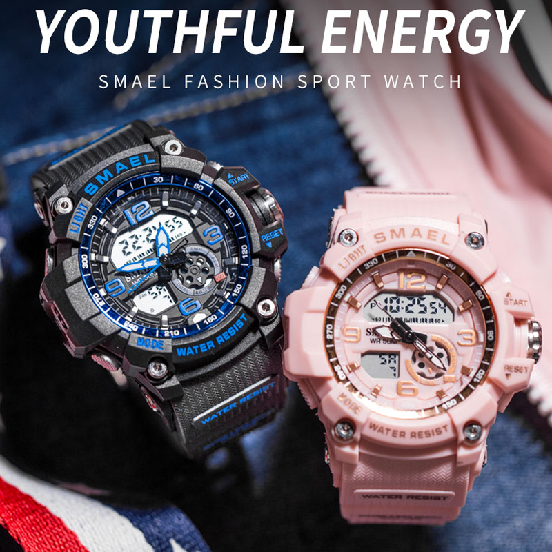SMAEL Fashion Women Sport Watches Waterproof Ladies Student Multifunctional Wristwatch LED Digital Quartz White Watch Girl Clock