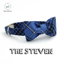 blue plaid  dog and cat collar with  bow tie  personal custom pet pupply designer product dog &cat necklace boy dog gift