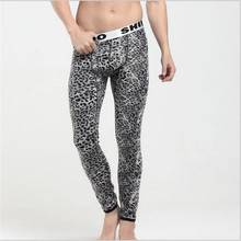 Super sexy Leopard Men thermal underwear cotton thickening plus velvet warm pants Middle waist stretch men's leggings