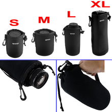 In Stock Universal Matin Neoprene Waterproof Soft Video Camera Lens Pouch Bag Case Full Size S M L XL For Canon Nikon Sony Black(China)