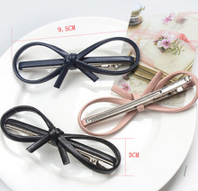 Free Shipping Women's elegant  PU leather bow hairpins girl's lovely fashion hair clips hair Korea accessories 2017