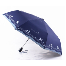 Cute Cat Automatic Parasol 3-fold Umbrella Rain Sun Women Windproof Plegable Sombrilla Paraguas Mujer Parapluie Women Fashion(China)