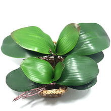 2017 new Artificial flower Orchid leaveshigh quality PU gluing texture leaves DIY potted flower arrangements(China)