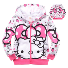 Children's Girls Hoodies & Sweatshirts Coat Hello Kitty Zipper Hooded Outwear Coat Kid's Clothing Outfit For 2 4 6 8 10 Years