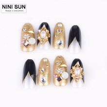Hot 3D Flash Diamond False Nail Fashion Nail Art for Bridal Makeup 24pcs/box 3D Acrylic False Nail Tips with glue(China)