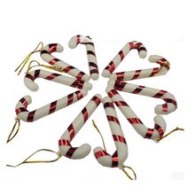 6Pcs/bag Plastic Candy Cane Ornaments Christmas Tree Hanging Decorations For Festival Party Xmas(China)