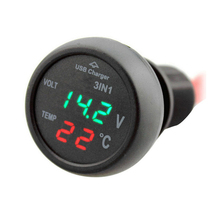 Car 3 in 1 Multifunction Car USB Charger Thermometer Voltage Digital Meter Monitor 2.1A USB Charger Port For Mobile Phone