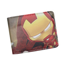 New Marvel Caption America Iron Man Anime Men Wallets Slime Students Zipper Coins Purse Cards holder short feminino Dollar Price(China)