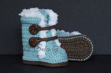 Crochet Baby Shoes,Crochet Baby Booties Green, Baby Girl Boots, Baby Wrap Boots, Green / Brown Choose Size:9cm 10cm 11cm