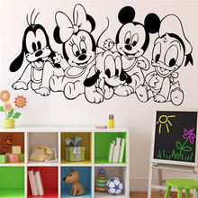 Cartoon Baby Characters Mickey Mouse Vinyl Sticker Wall Art Decor Children's Kids Room Ideas Room Interior Wall Stickers(China)