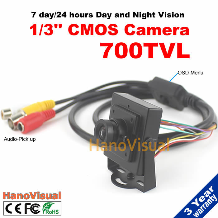 Mini Camera 700TVL 1/3 SONY CCD 960H Built-in microphone with Audio pick-up function OSD menu view in the dark environment<br>
