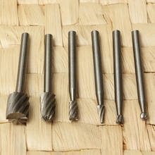 6pcs HSS Routing Wood Rotary Milling Cutter High Speed Steel Tool Set for Processing of Metallic and Non-metallic Surfaces