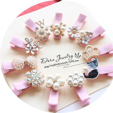 1Pc! Girls Hair Accessories Imitation Pearls Hairpins Cat Flower Shaped  Pink Hair Ornaments Princess Headwear Hair Clip