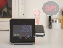 Hot Projection Weather LCD Digital Alarm Clock, Backlight LED Color Display Projector Snooze Alarm Hours Clocks(China)