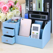Home office wooden leather multi-functional desk stationery organizer pen pencil holder box case desktop accessories kst 1094C