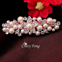 Rose Gold Color Flower Hair Clips Headwear Fashion  Flower Crystal Rhinestones Imitation Pearl Hair Clip Wedding Jewelry