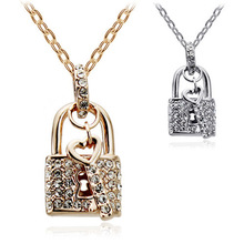 Top Selling  Gold-colors Full Rhinestone Crystal Lock Key Pendant Necklace- lock Heart For Women Costume Accessories