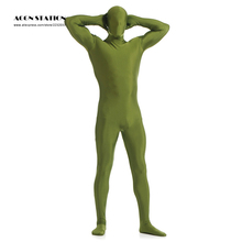 24h 2017 Grass Green Lycra Spandex Zentai Suit Green Giant Halloween Jumpsuit Romper Rush order/Same day shipping/24-hour(China)