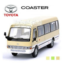 High Simulation Exquisite Model Toys: ShengHui Car Styling Classic Beige Bus Toyota Coaster 1:32 Alloy Bus Model Excellent Gifts