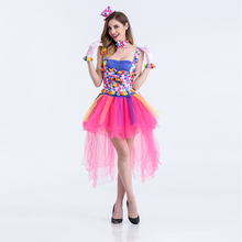 VASHEJIANG Classic Carnival Costumes Candy Color Clown Poly play Dress Fairy Halloween Clown Costumes For Women(China)