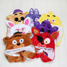 New FNAF Five Nights At Freddy's Plush Freddy Fazbear foxy Cartoon Plush Animal Hat Thermal Winter Ear Protector Cap