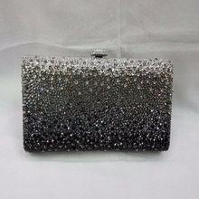 7748ZB Black Gradual change effect Crystal Lady fashion Metal Evening purse clutch bag case box handbag