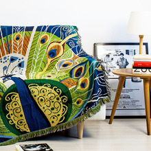 Vintage Tassels Green Peacock Woven Soft Sofa Blanket Throws Rugs Sofa Cover Chair Cover Table cover Print Home Decor 125x150cm(China)