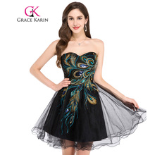 Grace Karin Short Prom Dress 2017 Sexy Black White Peacock Prom Gowns Tulle Robe De Cocktail Special Occasion Dress Ball Gown(China)