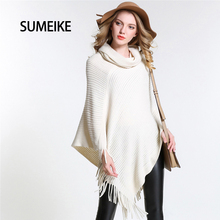 [SUMEIKE] New 2017 Fashion Design Style Scarf Turndown Collar/White Poncho For Women Warm Winter Shawl Capes SMKP004(China)