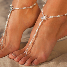New Summer Barefoot Sandals Anklets Trendy Foot Jewelry For Women Simulated Pearl Beads Chain Anklet With Crystal Seastar Charms